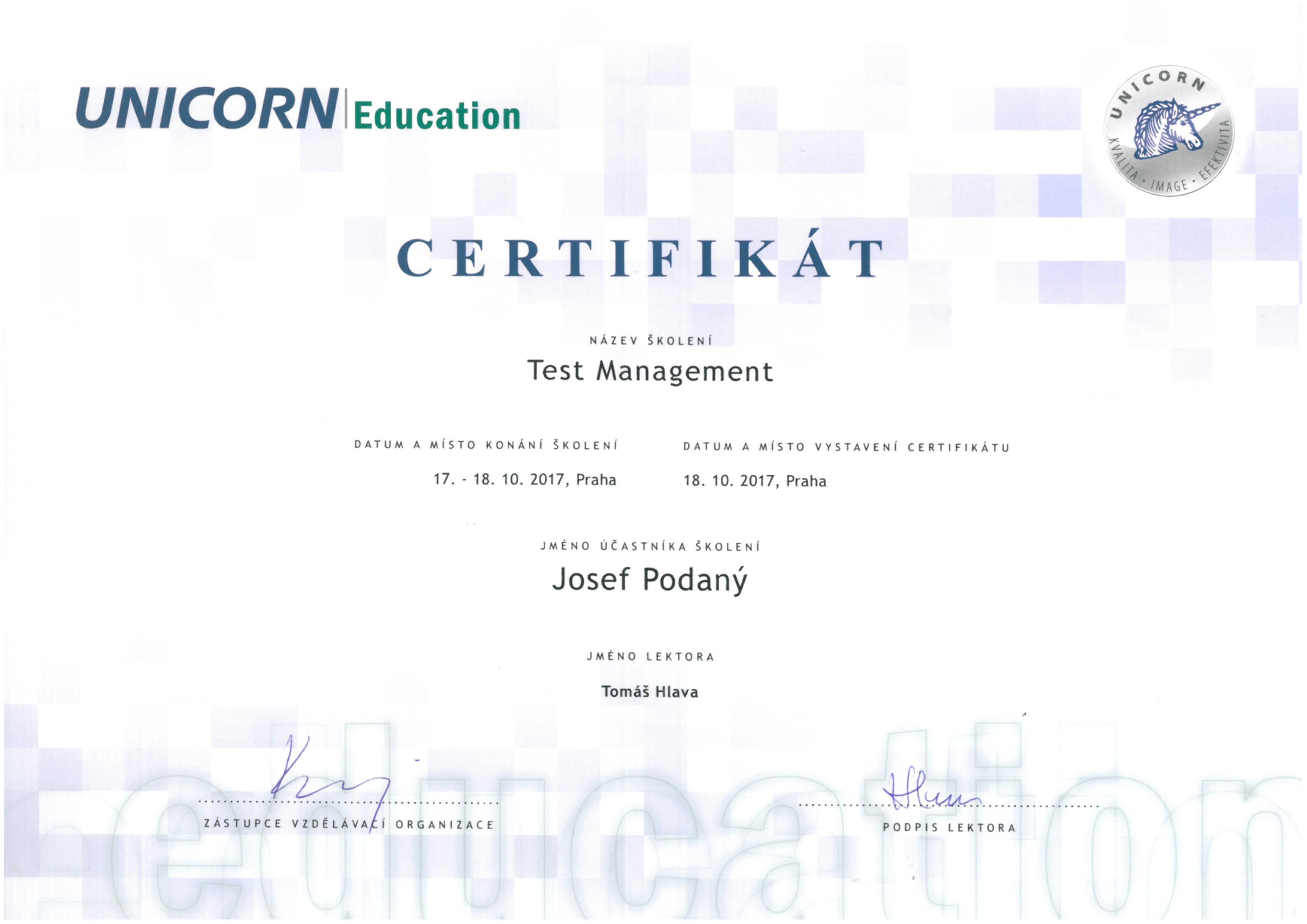 UNICORN Test Management Certifikat